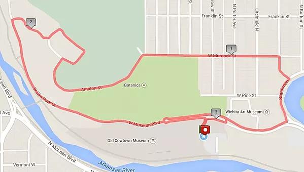 Wichita 2020 St Patricks Day 5K Map